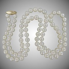 """Gorgeous 24"""" Long Strand of Hand Knotted Cultured Pearls w/14k Gold Clasp with Shell Wedding   Anniversary"""