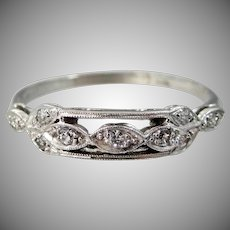 Gorgeous Platinum & Diamond Art Deco Ring Size 9 1/4   Wedding   Engagement   Anniversary   Stacking Ring