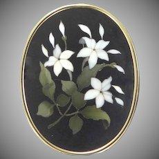14k Gold Victorian Pietra Dura Floral Pin