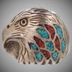 Unusual Signed Southwestern Sterling Silver Eagle Ring Turquoise & Coral Chip Inlay