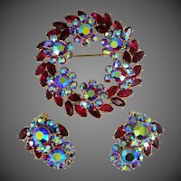 Pretty Ruby Red Rhinestones Signed TRIFARI Brooch & Matching Earrings