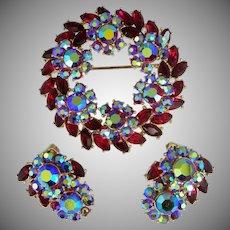 Pretty Ruby Red Rhinestones Signed TRIFARI Brooch & Matching Earrings
