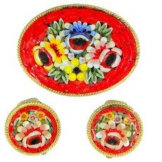 Pretty Mosaic Pin & Matching Clip on Earrings Set