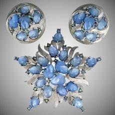 Trifari Blue Fruit Salad Pin & Matching Earrings