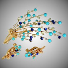 """Signed VENDOME Turquoise & Sapphire Blue Glass """"Spray"""" Brooch and Matching Earrings"""