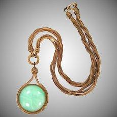 1930's Gilt Brass & Green Art Glass Necklace