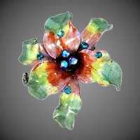 "Heavy Well Made ""Should be Signed"" Enamel Aurora Borealis Floral Pin"