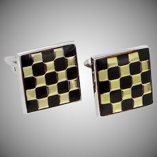 Signed D & B 925 Sterling Silver Checkerboard Cufflinks