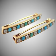 2 Victorian 14k Gold Turquoise & Seed Pearls Bar Pins