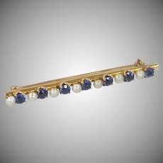 14k Gold Sapphire & Seed Pearls Victorian Bar Pin