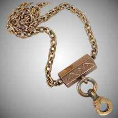9k Solid Gold Finely Etched Slide Chain Necklace Perfect for a Locket