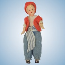 "3 1/4"" High Tiny Jointed Composition Germany Boy Doll"