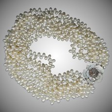 Massive 7 Strand Freshwater Pearls Necklace with Mother of Pearl Clasp