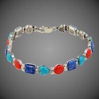 Great Carlisle Jewelry Semi Precious Gems Sterling Silver Bracelet