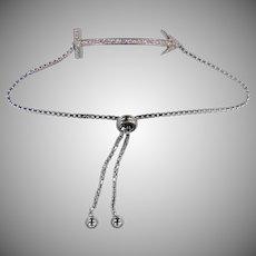 Unusual Sterling Silver Figural Arrow Adjustable Bracelet   Ankle Bracelet