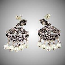Pretty Sterling Silver & Seed Pearls Dangle Earrings
