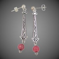 Shube's Jewelry Company Sterling Silver & Rhodonite Dangle Earrings