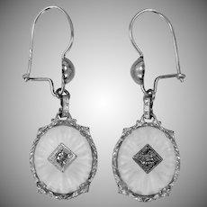 14k White Gold & Rhodium Camphor Glass Dangle Earrings