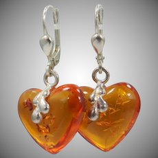 Pretty Sterling Silver & Carved Heart Shaped Genuine Amber Earrings