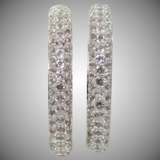 Pretty Sterling Silver & Cubic Zirconia Hoop Earrings With Locking Clasp