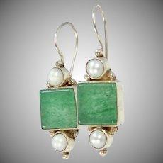 Sterling Silver Cultured Pearls & Jadeite Dangle Earrings