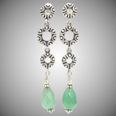 """2"""" Long Sterling Silver & Jadeite Dangle Pierced Earrings"""