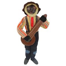 """8"""" Loveleigh Novelty Co. Banjo Player Early with Painted Red Eyes Near Mint Nut Head Folk Art Doll"""
