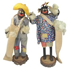 1920's Topsy & Sambo Cotton Picking Black Memorabilia Folk Art Dolls