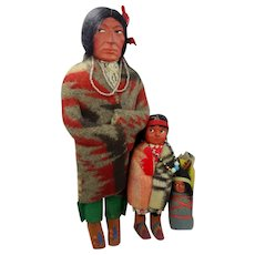 "3 Vintage Skookum Dolls 11"" Bully Good Papoose"