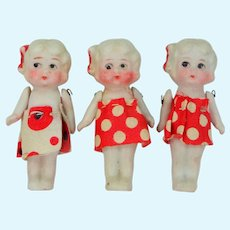 3 Tiny Bisque Dolls Made in Japan with Pin Jointed Arms
