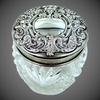 Victorian Sterling Silver Crystal Dresser Jar with Demons on Lid