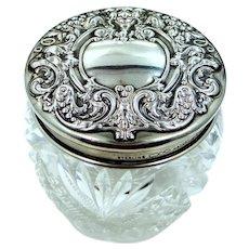 Victorian Sterling Silver Crystal Dresser Jar with Demons on Lid