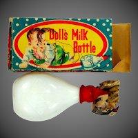 Vintage Doll's Milk Bottle Milk Glass and Original Box