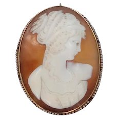 Victorian 14k Gold Shell Cameo with Seed Pearls Pin / Pendant