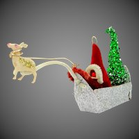 Cute Vintage Santa in Sleigh Christmas Decoration
