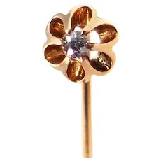 Victorian 14k Gold Diamond Stickpin with Buttercup Setting