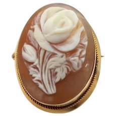 Pretty 18k Gold Pin / Pendant with Shell Cameo of a Rose
