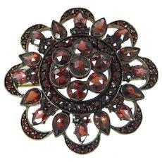 Victorian Bohemian Garnets Gold Wash Silver Pin