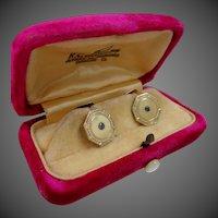 Victorian 10k Gold & Sapphires Cufflinks in Original Box