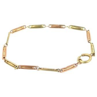 Victorian 14k Rose Gold & Yellow Gold Intricate Links Bracelet