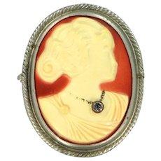 Art Deco Celluloid Habille Cameo Brooch