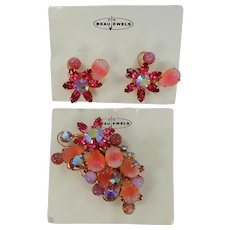 BeauJewels Rhinestone Brooch & Earrings on Original Cards with Carved Stones
