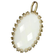 14k Solid Gold Faceted White Gemstone Pendant