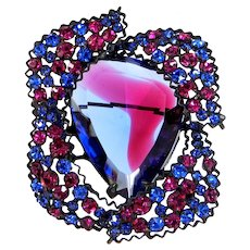 Marvella Blue | Purple | Pink Rhinestone Brooch Pin