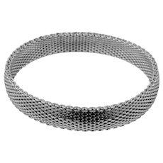 Large Sterling Silver Mesh Flexible Bangle Bracelet