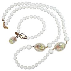 Signed Miriam Haskell Transfer White Glass Necklace & Matching Bracelet