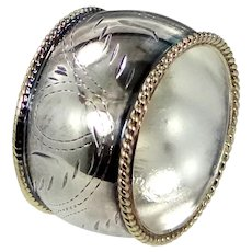 WIDE Sterling Silver Etched Cigar Band Ring with Pale Gold Beaded Edges Size 9 1/2