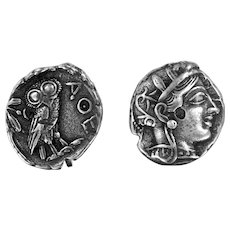 Athena & The Owl Sterling Silver Earrings