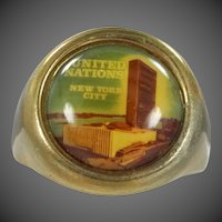 Mid Century United Nations New York City Souvenir Ring