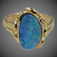 Handmade 14k Gold Black Opal Ring